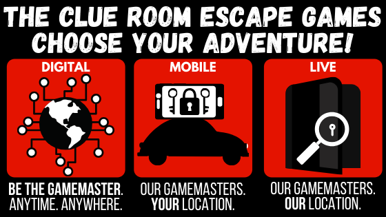 Learn more about The Clue Room's Digital Escape Games, Mobile Escape Games, and Live Escape Games